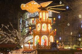 Светящийся леc на мюнхенской площади Rindermarkt